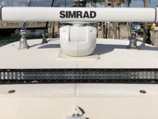 Simrad radar. Plus lights for night fishing charters.