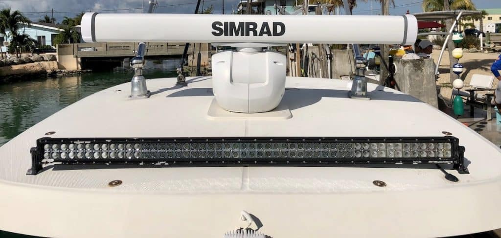 Simrad radar. Plus lights for night fishing charters.